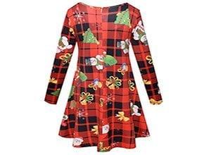 Women's Long Sleeve Casual Christmas Print Swing Dress