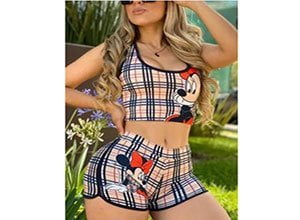 Fashion Casual Printed Vest Shorts Khaki Set