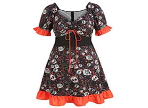 Halloween Skulls Print Flounce Cinched Dress