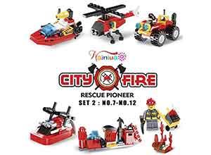 222Pcs Fire Rescue Vehicles Building Blocks Set