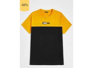 SHEIN Men Letter Graphic Two Tone Tee