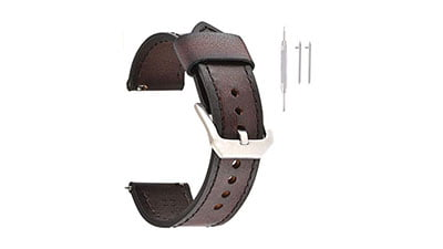 EACHE Quick Release Genuine Leather Watch Band