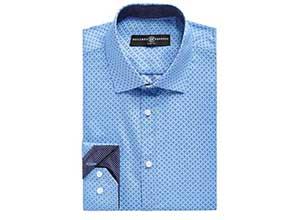 Mens Slim Fit No Iron Stretch Geo Print Dress Shirt