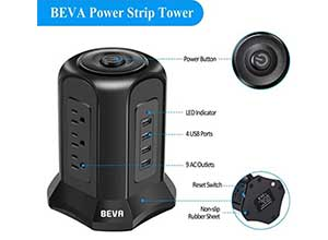 BEVA Power Strip Tower Surge Protector