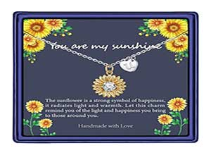 14k Gold Plated Sunflower Necklace CZ Heart Initial Letter