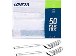 Lonezo 50 Clear Disposable Plastic Forks