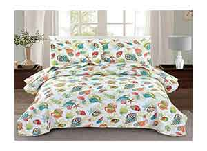 3 Piece Quilted Bedspread Coverlet with Shams