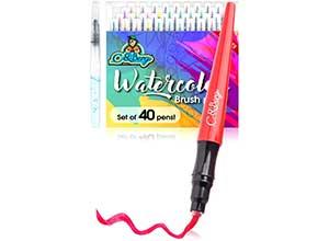 40 Watercolor Brush Pens Soft Flexible Tip