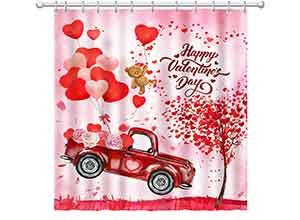 Hexagram Valentines Shower Curtain