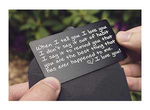 Engraved Aluminum Wallet Card Love Note