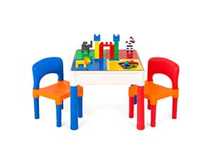 3 in 1 Kids Activity Table Set w Building Block Table