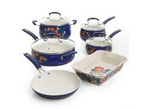 Floral Pattern Ceramic Nonstick Cookware Set