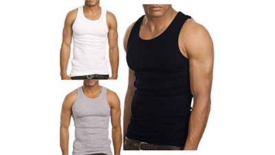 3-Pack Mens Top Gym Workout Undershirt