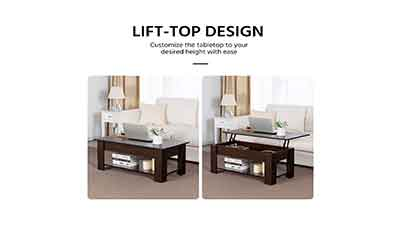 Coffee Table with Hidden Compartment Storage Shelf