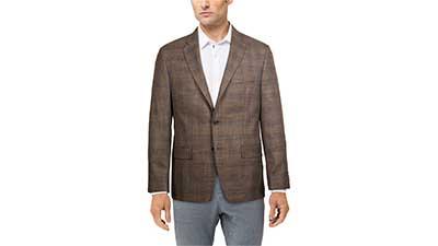 Mens Classic-Fit Ultraflex Stretch Patterned Blazer