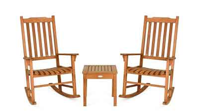 Eucalyptus Rocking Chair Set with Coffee Table