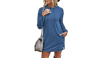 Long Pullover Hooded Dress Sweatshirt with Pockets