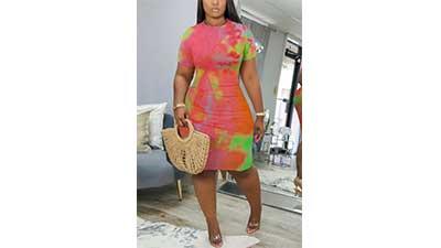 Pink Casual Regular Sleeve O Neck Dress