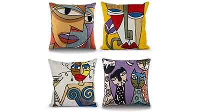HOTM Throw Pillow Covers 18 x 18 Set of 4