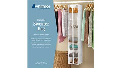 Whitmor Crystal Clear Zippered Hanging Sweater Bag