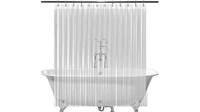2 Pack Clear Shower Curtain Liner with 24 Hooks