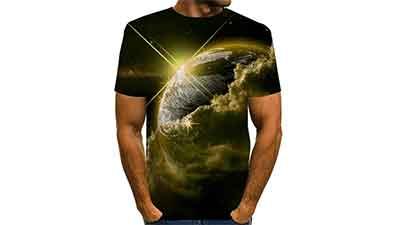 TS Mens Shirt Print Graphic Short Sleeve Tops