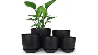 Modern Decorative Plastic Pots for Plants with Tray