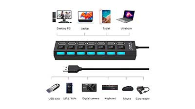 USB Data Hub Splitter with USB Hub Adapter