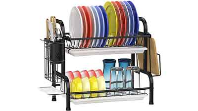 GSlife SS 2 Tier Dish Rack with Utensils Holder