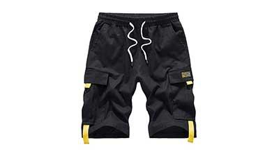 Mens Casual Cotton Elastic Waist Cargo Shorts