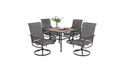 PHI VILLA Patio Swivel Chair Outdoor Dining Set