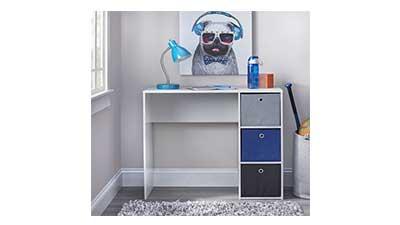 Kids Desk with three Fabric Storage Bins