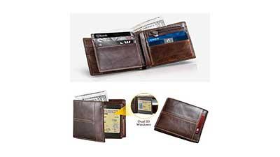 Mens Wallet RFID Genuine Leather for Men