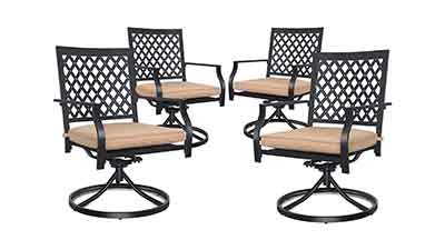 4-Piece Outdoor Swivel Dining Chair Set