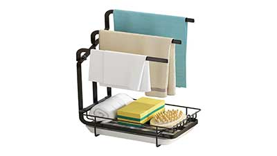 Apsan Sponge Holder with Drain Pan for Kitchen Sink